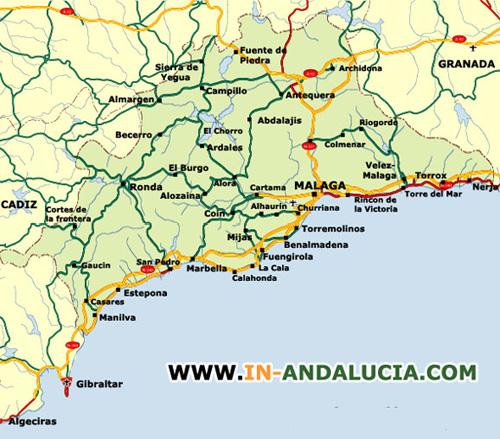 Mapa de Malaga  Malaga  Andalucia